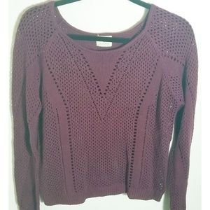 Anthropologie Purple Crocheted Style Sweater, Med
